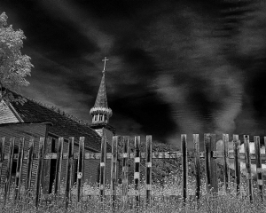 neglected churchyard