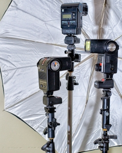 "My inexpensive and very portable ""Portrait kit"". Works easily for indoor or out of doors lighting."
