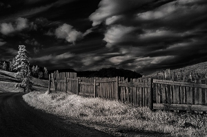 Fence along a dirt road